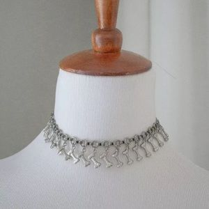 Heavy Metal Silver Skeleton Bones Choker Necklace
